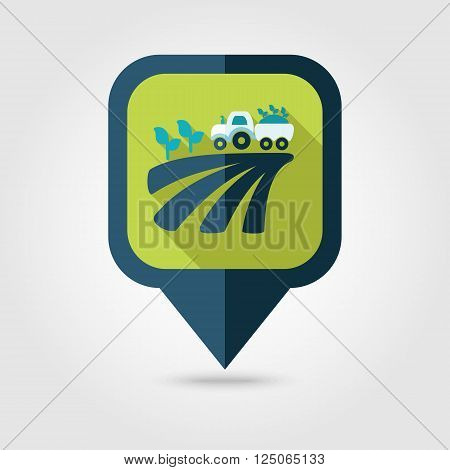 Tractor on field harvest seedling flat pin map icon. Map pointer. Map markers. Farm. Field. Harvest. Transport. Vector illustration eps 10