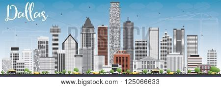 Dallas Skyline with Gray Buildings and Blue Sky. Vector Illustration. Business Travel and Tourism Concept with Modern Buildings. Image for Presentation Banner Placard and Web Site.