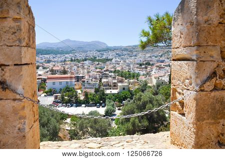 View from the walls of an old fortress in Rethymno