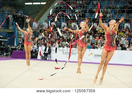 MOSCOW RUSSIA - FEBRUARY 19 2016: group exercises the team of Finland on Rhythmic gymnastics Alina Cup Grand Prix Moscow - 2016 in Moscow sport palace Luzhniki Russia