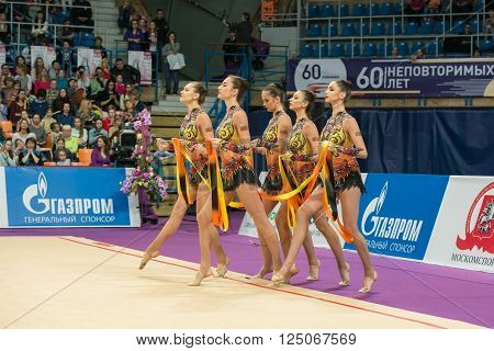 MOSCOW RUSSIA - FEBRUARY 19 2016: group exercises the team of Bulgaria on Rhythmic gymnastics Alina Cup Grand Prix Moscow - 2016 in Moscow sport palace Luzhniki Russia