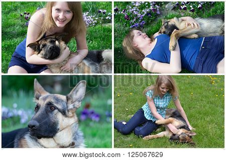 collage of photos from the set of a girl playing with German shepherd on the grass ** Note: Soft Focus at 100%, best at smaller sizes