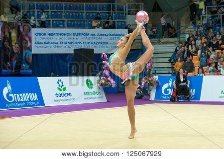 MOSCOW RUSSIA - FEBRUARY 19 2016: Berezko-Marggrander Jana Germany on Rhythmic gymnastics Alina Cup Grand Prix Moscow - 2016 in Moscow sport palace Luzhniki Russia