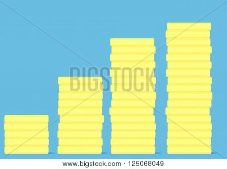 Coin stock golden money. Finance stock coin investment money coin golden saving and growth market. Vector flat design illustration