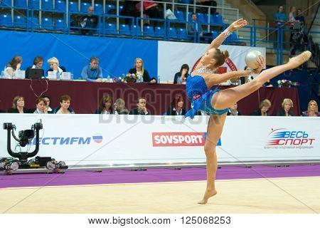 MOSCOW RUSSIA - FEBRUARY 19 2016: Bolotina Elena Belarus on Rhythmic gymnastics Alina Cup Grand Prix Moscow - 2016 in Moscow sport palace Luzhniki Russia