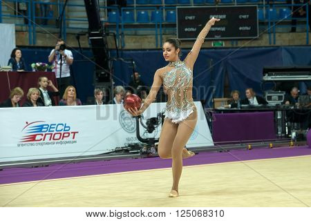 MOSCOW, RUSSIA - FEBRUARY 19, 2016: Sinitsina Yulia, Russia on Rhythmic gymnastics Alina Cup Grand Prix Moscow - 2016 in Moscow sport palace Luzhniki, Russia