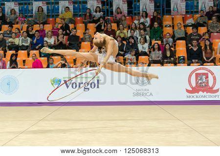 MOSCOW RUSSIA - FEBRUARY 19 2016: Zafirova Erika Bulgaria on Rhythmic gymnastics Alina Cup Grand Prix Moscow - 2016 in Moscow sport palace Luzhniki Russia