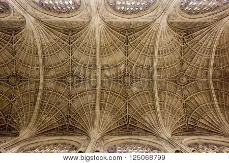 The geometric pattern of a ceiling  on a cathedral in Cambridge, England shows the attention to architectural detail in the construction. ** Note: Visible grain at 100%, best at smaller sizes