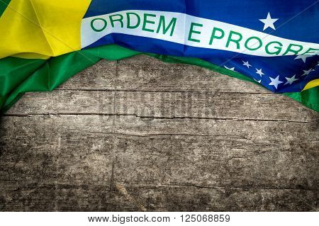 brazilian flag on s wooden background, lot of copyspace