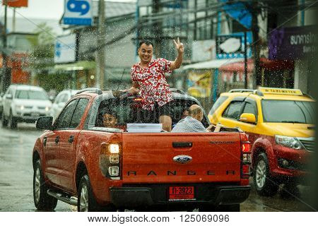Ko Samui, Thailand - April 19: Foreigners And Thai People Enjoy Splashing Water Together In Songkran