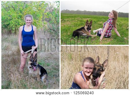 collage set of photos with the girl and German Shepherd