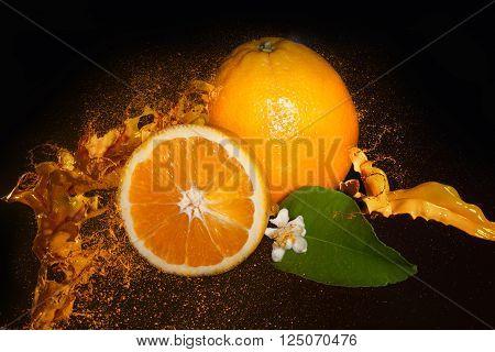 Fresh Orange In Juice Splash