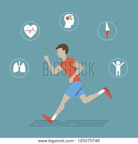 Illustration of man running on the road. Vector fitness infographics healthy lifestyle and sport. Sport icons in flat design. Vector running health infographic. Benefits of running infographic or poster