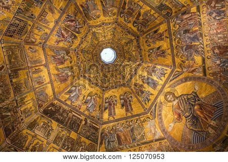 Florence, Italy - September 17, 2015 : interiors and architectural details of Baptistery of saint John in Florence, Italy