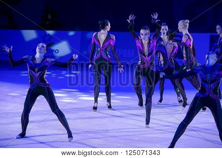 MOSCOW, RUSSIA - FEBRUARY 21, 2016: team by Rhythmic gymnastics, Russia at the gala concert Grand Prix Moscow - 2016 in Moscow sport palace Luzhniki, Russia