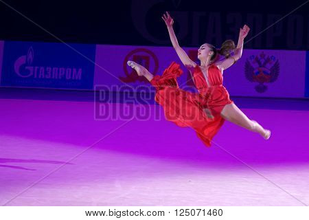 MOSCOW, RUSSIA - FEBRUARY 21, 2016: Margarita Mamun, Russia at the gala concert Grand Prix Moscow - 2016 in Moscow sport palace Luzhniki, Russia