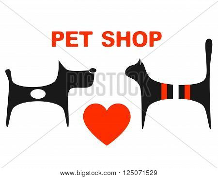 symbol of pet shop with big red heart and pets