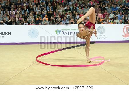 MOSCOW, RUSSIA - FEBRUARY 21, 2016: Minagawa Kaho, Japan on Rhythmic gymnastics Alina Cup Grand Prix Moscow - 2016 in Moscow sport palace Luzhniki, Russia