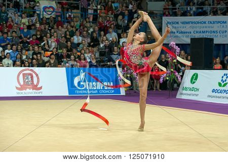 MOSCOW RUSSIA - FEBRUARY 21 2016: Averina Arina Russia on Rhythmic gymnastics Alina Cup Grand Prix Moscow - 2016 in Moscow sport palace Luzhniki Russia