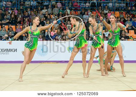 MOSCOW RUSSIA - FEBRUARY 21 2016: group exercises the German team on Rhythmic gymnastics Alina Cup Grand Prix Moscow - 2016 in Moscow sport palace Luzhniki Russia
