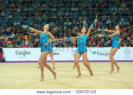 MOSCOW RUSSIA - FEBRUARY 21 2016: group exercises the Greek team on Rhythmic gymnastics Alina Cup Grand Prix Moscow - 2016 in Moscow sport palace Luzhniki Russia