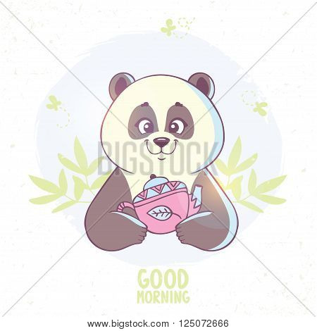 Stylish card with funny and cute cartoon panda with kettle. Vector illustration