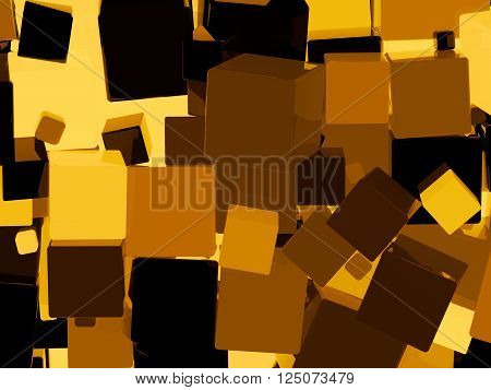 Shiny orange cube 3d abstract background. 3D illustration