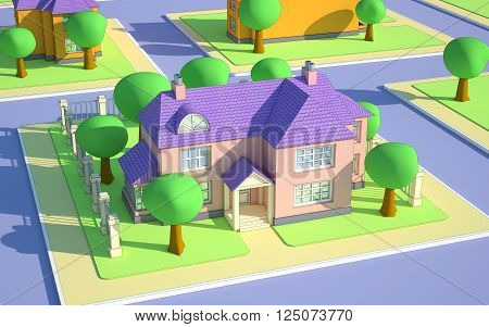 cartoon isometric view on street with house
