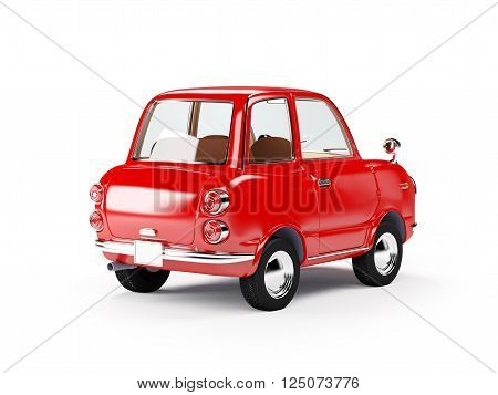 retro car red in 60s style isolated on a white background. Back view. 3d illustration