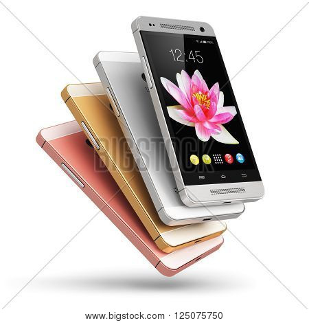 3D rendering of the group of modern metal black glossy touchscreen smartphones with colorful application interface with color icons and buttons isolated on white background