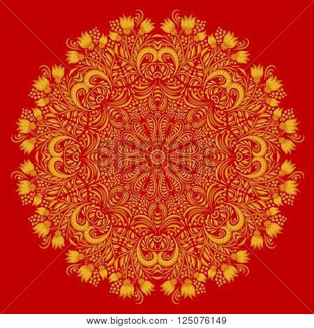 Round gold khokhloma pattern on red background. Circular ornament. Design element. Illustration for greeting cards, invitations, and other printing projects.