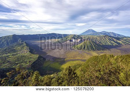 Mount Bromo, Mt Batok, and Gunung Semeru in Java, Indonesia.