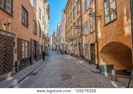 STOCKHOLM, SWEDEN  MAY 1: Springtime in the Old Town on May 1, 2009 in Stockholm. The historic medieval Old Town is a major tourist attraction in Stockholm.