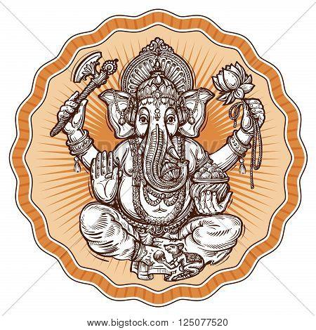 Indian God Ganesh isolated on white background. vector illustration