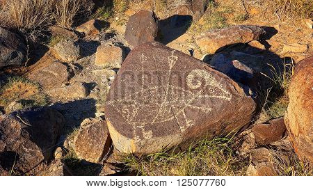Petroglyph at Three Rivers Petroglyph site in New Mexico, USA.