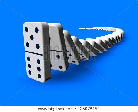 Domino effect idea 3D render blue background.