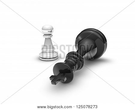 Power concept with chess pawn and ches king. 3D rendering isolated on white background.