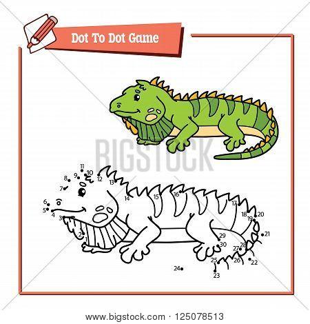 dot to dot iguana educational game. Vector illustration educational game of dot to dot puzzle with happy cartoon iguana for children