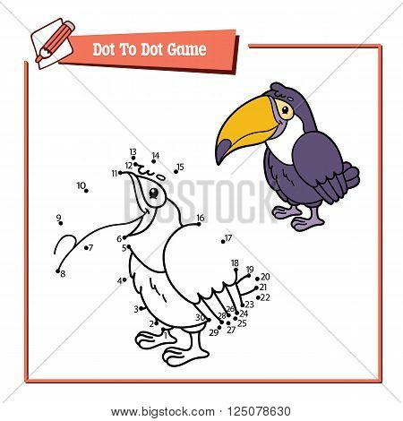 dot to dot toucan educational game. Vector illustration educational game of dot to dot puzzle with happy cartoon toucan for children