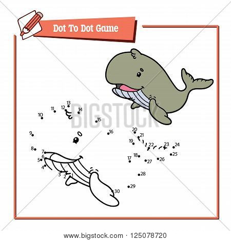 dot to dot whale educational kid puzzle game. Vector illustration educational kids game of dot to dot puzzle with happy cartoon whale for children