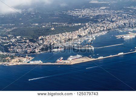 PALMA DE MALLORCA, SPAIN - SEPTEMBER 15, 2015: Bird's-eye view on the island Mallorca, port and sea on April 19, 2015 in Palma de Mallorca, Balearic islands, Spain.