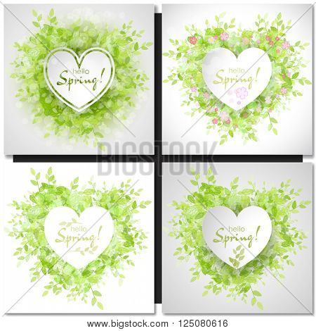 Set of Fresh spring green grass leaves frame template with white heart frame. Hello Spring design vector illustration. Trendy Design Template.