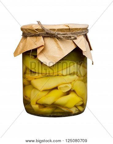 marinated green beans in a glass jar isolated on white background. home canning. home canning. Armenian food