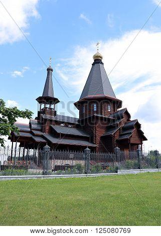 MINSK, BELARUS - JULY 20, 2014: Wooden Trinity Church in Minsk