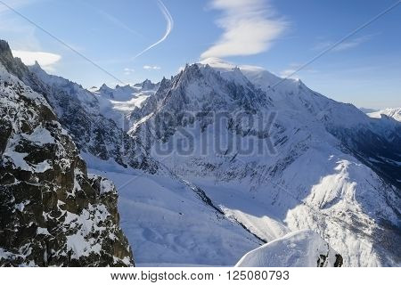 Mont Blanc Chamonix. Rocks under fresh snow