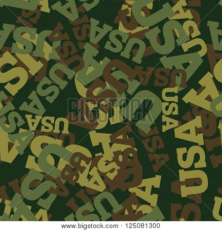 Military Camouflage Usa. American Protective Seamless Pattern. Army Soldier Texture For Clothes. Orn