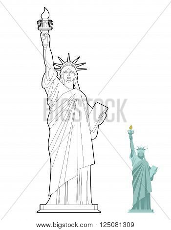 Statue Of Liberty Coloring Book. Symbol Of Freedom And Democracy In Usa. Monument Of Architecture In