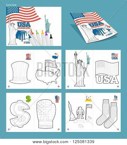 Usa Coloring Book. Patriotic Illustrations. National Symbols America. Uncle Sam Hat And Map Of Ountr