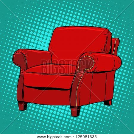 Red armchair furniture vector pop art retro style. Classic red chair. Chair vector retro illustration. A chair for the boss