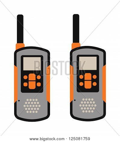 Portable radio transmitter on a white background vector illustration. Portable radio tool vector. Portable radio station icons. Radio signal, radio talk tools. Phone, radio, remote control. Sport